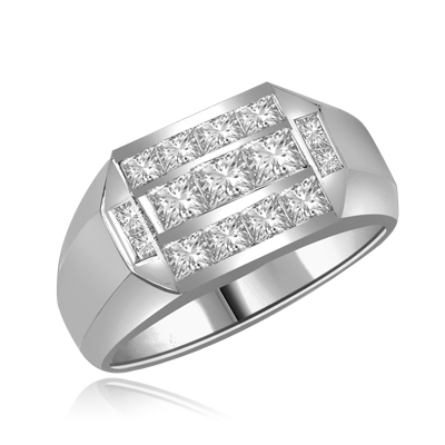 Man's Ring 1.0 Diamond Essence Radiant Sqaure Center Stones and 0.70 Carat Princess Stones in around them set in Platinum Plated Sterling Silver.Man's Ring 1.0 Diamond Essence Radiant Sqaure Center Stones and 0.70 Carat Princess Stones in around them set