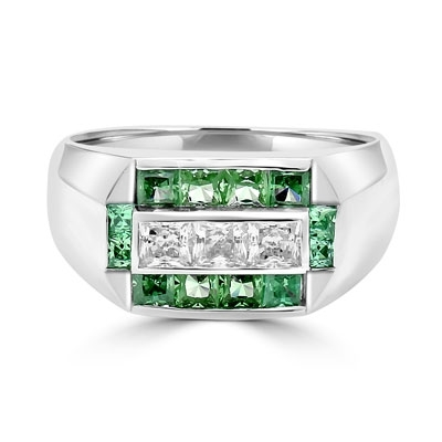 Man's Ring with 0.75 cts., Radiant Square Diamond Essence Center Stones surrounded by 1.0 cts. Princess Cut Emerald Essence, channel set in Platinum Plated Sterling Silver.