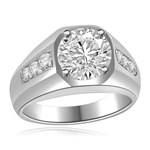 Impressive Man's Ring 2.75 Cts. T.W with 2 Cts. Brilliant White Center and Channel Set accents squiring each side, in Platinum Plated Sterling Silver.
