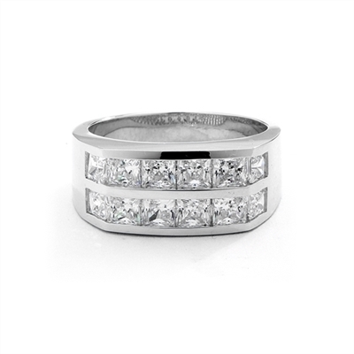 A winning look.-Platinum Plated Sterling Silver man's channel set ring, 1.25 cts. t.w. with Princess cut Diamond Joy stones.