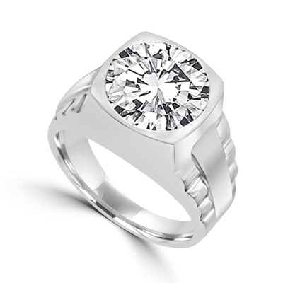 "Platinum Plated Sterling Silver Bezel set man's ring, 5.0 cts. t.w., with massive round cut centerpiece. Big stone, little ""rock"" for a big mover and shaker, wherever he's from."