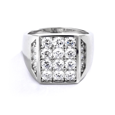 Simply Amazing ring for your perfect man. 3.5 Cts. T.W. set in Platinum Plated Sterling Silver.