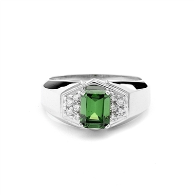 Man's ring with a 1.5 cts. Emerald Essence Stone center and Brilliant Melee