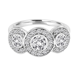 Three stone ring with surrounded melee,1.35 cts. t.w. in Platinum plated Sterling silver