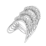 Diamond Essence Designer Ring With Three Curved Rows Of Round Brilliant Stones, 3 Cts.T.W. In Platinum Plated Sterling Silver.
