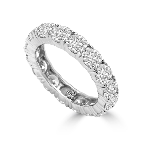 Diamond Essence Eternity Ring, With 4 Cts.T.W. Round Brilliant Stones In Platinum Plated Sterling Silver.