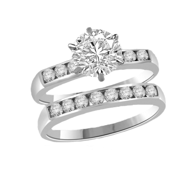 Beautiful wedding set. 1.0 carat Diamond Essence set in six prongs setting, and small round brilliant melee set in channel setting, on both the bands.2.25 cts.t.w. in Platinum Plated Sterling Silver.