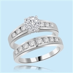 silver wedding set 1carat round center and accents