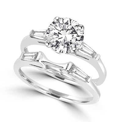 Sterling Silver Wedding Sets.Diamond Essence Wedding Set With Round Brilliant Stone And Baguettes 2 80 Cts T W Srd2144