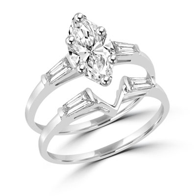 Sterling Silver Wedding Sets.Diamond Essence Wedding Set With Marquise Cut Stone And Baguettes 2 30 Cts T W Srd2147