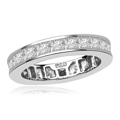 Timeless Eternity Band with Channel set Princess Cut Diamond Essence stones, 1.25 Cts.T.W. set in Platinum Plated Sterling Silver.