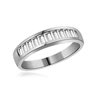 ring- platinum plated sterling silver, baguette band