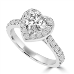Diamond Essence 1 Ct. Heart In Four Prongs And Surrounded By Melee, 2.50 Cts.T.W. In Platinum Plated Sterling Silver.