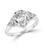 Duse - Ring with Pear Cut Center Stone flanked by Brilliant Trilliant Cut Diamond Essence accents, 3.0 Cts. T.W in Platinum Plated Sterling Silver.