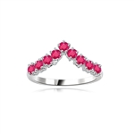Stacking Rings-V-shaped Ruby rings in silver