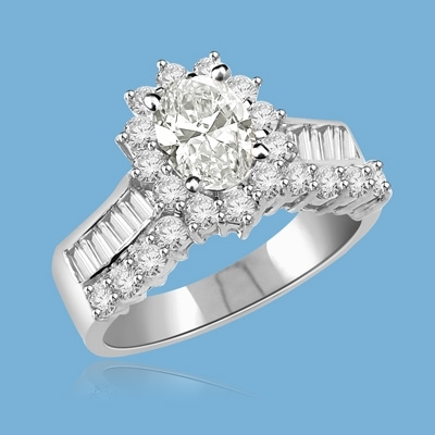 Toccata - Simply Elegant Ring, 2.0 Carats T.W., with a 1.0 Carat Oval Cut Center Stone and Accents. You will show them what you can do! 14K Solid White Gold.