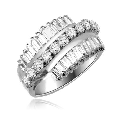 Flourish - Brilliant Ring, 5 Cts. T.W, with Baguettes on two side bands surrounding a Melee of Round Diamond Essence Fireworks! In Platinum Plated Sterling Silver.