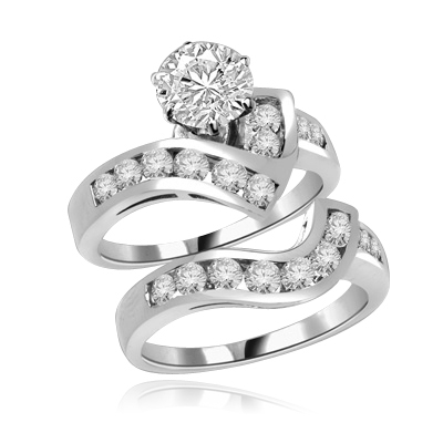 Radames And Aida-Wedding Set in Platinum Plated Sterling Silver, 1.8 Cts.T.W. with 1 Ct. Solitaire and Curvy Channel Set Melee Accents. Show of your Celestial Beauty and Starry Love!