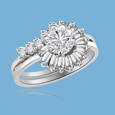 Pelleas and Melisande - Magnificent Wedding Set, 2.2 Cts. T.W, with 1 Ct. Center Stone with Baguette and Round Accent Masterpieces encircling in love of life! In Platinum Plated Sterling Silver.