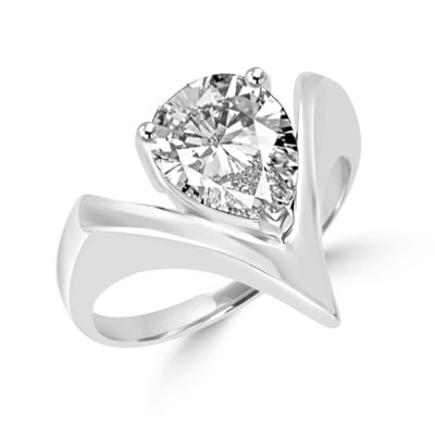 Diamond Essence Ring with 2.0 ct. Pear cut stone,in Platinum Plated Sterling Silver.