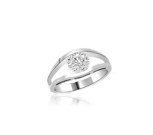 Subtle and strong Friendship Ring, 1.0 Ct. T.W, with a delicate Round Solitaire nestled in stylish split shank of Platinum Plated Sterling Silver.