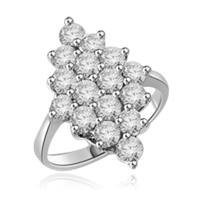 Queen Of Diamonds - Cluster Ring, 1.6 Cts. T.W with Melee Stones appropriately set in a glittering Diamond shape in Platinum Plated Sterling Silver.