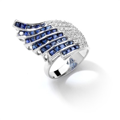 Wildfire - Art Deco Ring with burst of 36 Melee accents followed by 38 flaming Sapphire Essence princess cut jewels. 4.0 Cts. T.W. set in Platinum Plated Sterling Silver.