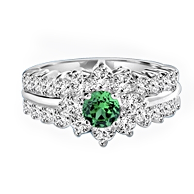 Greenpeace - 1.25 Carats Emerald Center is surrounded by supremely crafted masterpieces. In Platinum Plated Sterling Silver.