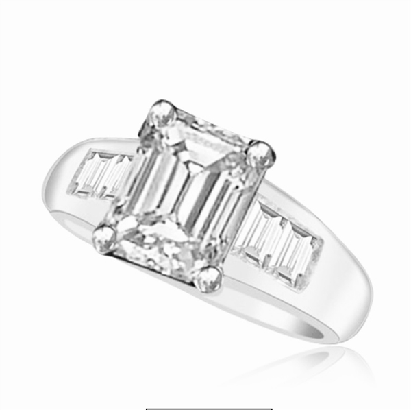 Diamond Essence Ring with Emerald cut Stone and Baguettes, 3.80 cts.t.w. - SRD3375