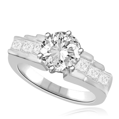 Fashion Queen Ring 2.7 cts. with 2.0 cts. Round Center and Channel set round pieces tripping down each side in stairway effect in Platinum Plated Sterling Sillver.
