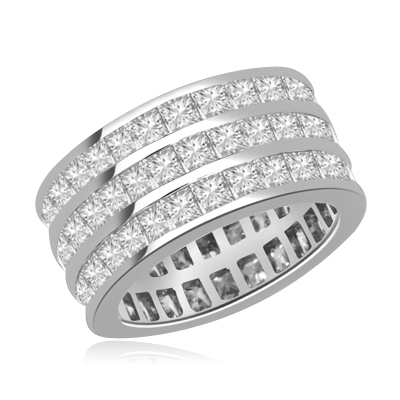 Wedding Eternity Ring with 3 rows of Square Cut Masterpieces going elegantly all around the band. 4 Cts. T.W, in Platinum Plated Sterling Silver.