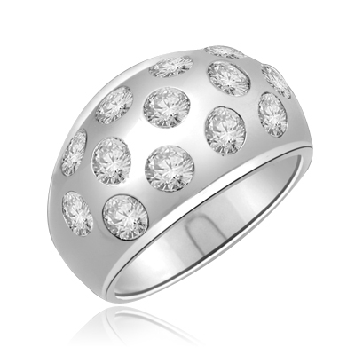 Rich in love is this band with 1.7 Cts Bezel set round brilliants sparkling thru a heavy set of Platinum Plated Sterling Silver.