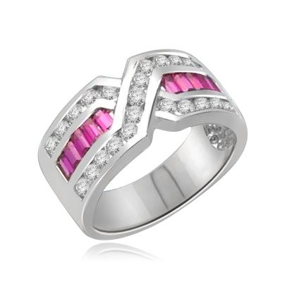 Tenderly- Ruby Platinum Plated Sterling Silver  ìXî ring 2.5 cts.t.w