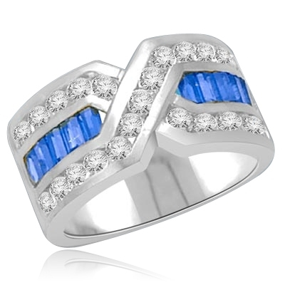Tenderly- Sapphire Platinum Plated Sterling Silver  ìXî ring 2.5 cts.t.w