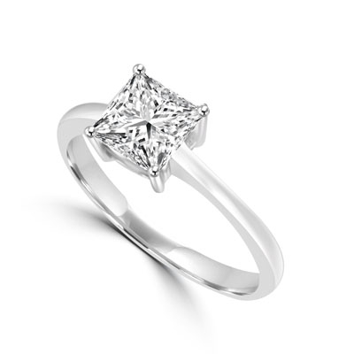 1 ct princess cut stone in silver ring