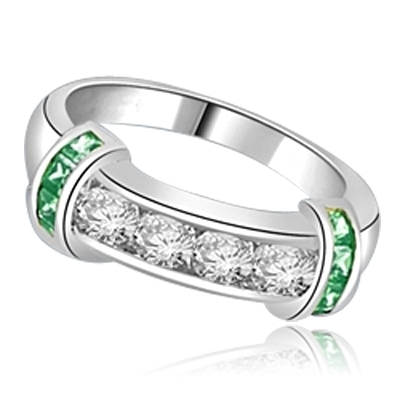 Brilliant channel-set Diamond Essence diamonds with a bar of Emerald  Essence on either side. 1.35 cts. T.W. set in Platinum Plated Sterling Silver.