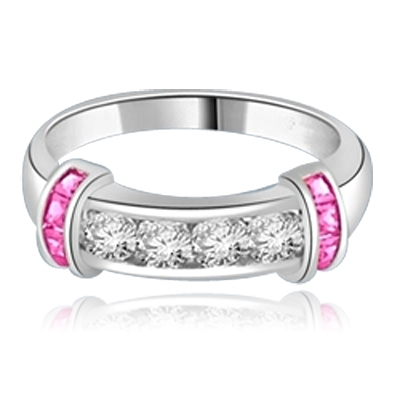 Brilliant channel-set Diamond Essence diamonds with a bar of Ruby Essence on either side. 1.35 cts. T.W.  set in Platinum Plated Sterling Silver.