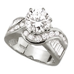 Diamond Essence Designer Ring With 2 Cts. Round Brilliant Set In Six Prongs And Brilliant Channel Set Baguettes And Melee On The Band In Platinum Plated Sterling Silver, 4 Cts.T.W.