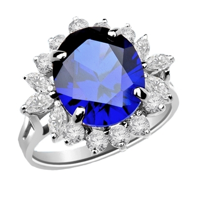 Amazingly beautiful Ring with White Brilliant Marquise and Round accents surrounding a 5 Ct. Blue Star Sapphire Cabochan Center, set in Platinum Plated Sterling Silver, which in light will revel a Star! .