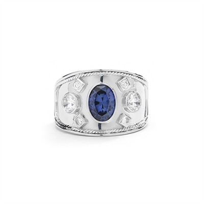 Platinum Plated Sterling Silver European ring, with a 1.5 cts. oval cut Sapphire Essence center stone and round cut accents.
