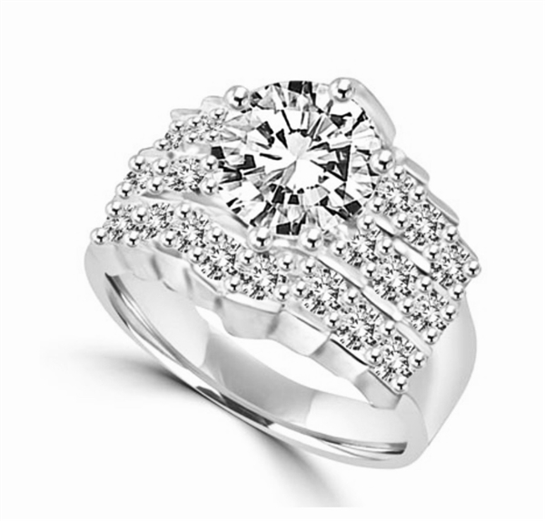 round cut platinum plated sterling silver diamond ring