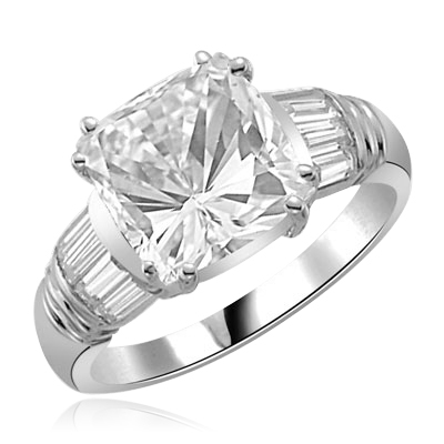 Ring – cushion cut stone with baguettes in silver