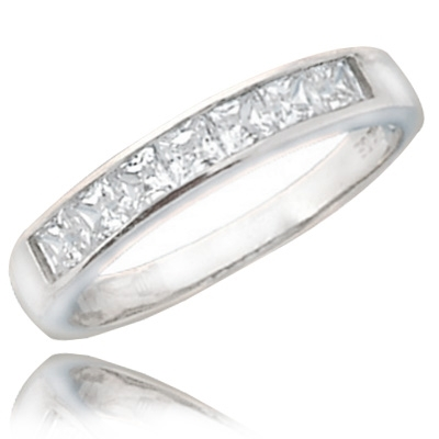 0.70 ct elegant band princess cut diamond ring in silver