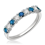 Platinum Plated Sterling Silver Ring with round Sapphire  stones