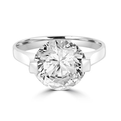 sterling silver ring with 4 cts. round Diamond
