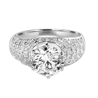Heirloom - Brilliant Ring with 3 Cts. Round Diamond Essence Store atoning a fanfare band of Pave Set Melee Stones on each side. 3.25 Cts. T.W. set in Platinum Plated Sterling Silver.
