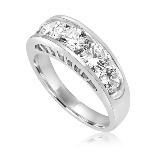 Diamond Essence Five Stones Ring, With Round Brilliant Stones In Graduating Size, 1.80 Cts.T.W. In Platinum Plated Sterling Silver.