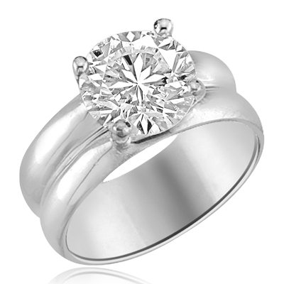 Wide band solitaire ring 25 ct round brilliant stone set in