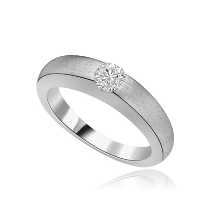 5ct round bazel set solitaire silver ring