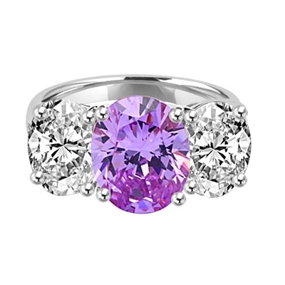 Three stone Jaw dropping oval Lavender stone ring